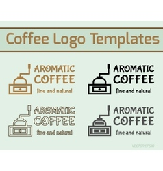 Coffee cafe icon logo template and business cards vector image vector image