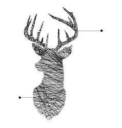 Continuous line head of deer vector