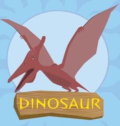 Dinosaur pterosaur silhouette against the sun vector