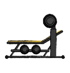 drawing brench press with weight barbell sport vector image