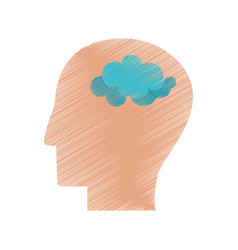 drawing profile head think brain vector image