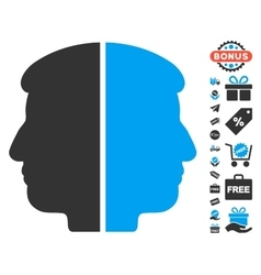 Dual face icon with free bonus vector
