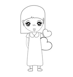 figure pretty girl with hearts in the hand and vector image vector image