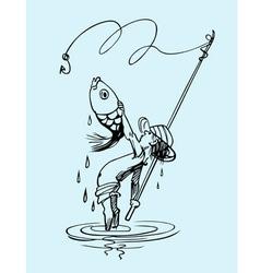Fishing boy vector image vector image