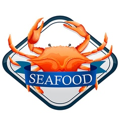 Fresh crab with blue seafood sign vector