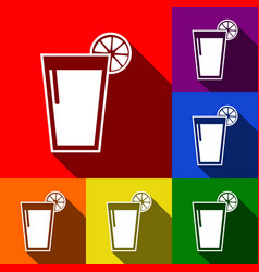 Glass of juice icons set of icons with vector
