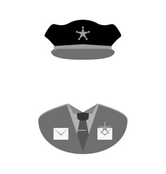 grayscale police uniform icon image vector image
