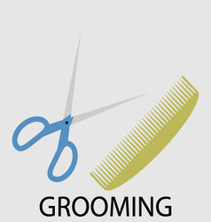 Grooming scissors and comb vector image