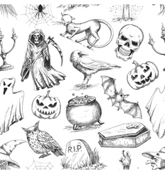 Halloween sketch seamless pattern vector image