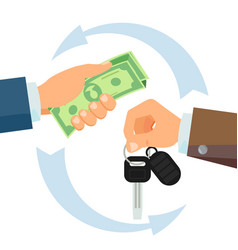 hand giving car keys business car rental vector image