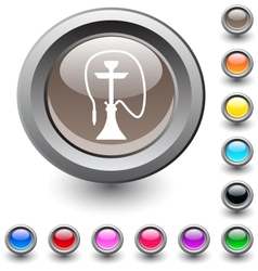 Hookah round button vector