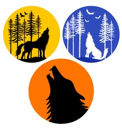 Howling wolf with moon set vector image vector image