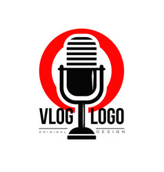 Interesting logo with retro microphone and red vector