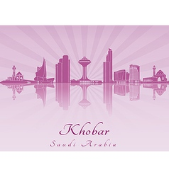 Khobar skyline in purple radiant orchid vector image