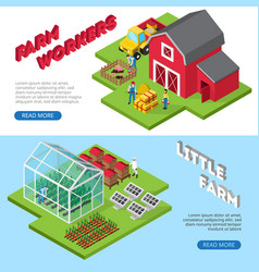 Little farm work facilities isometric banners vector