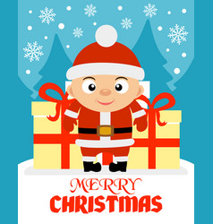 merry christmas with boy vector image
