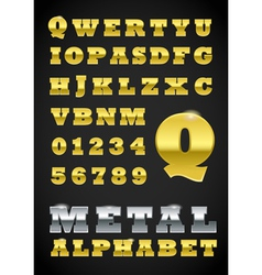 Metal Letter and Numbers vector image vector image