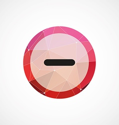 Minus circle pink triangle background icon vector