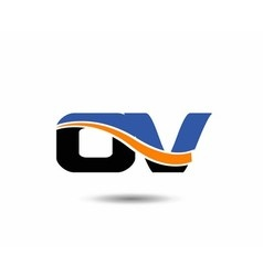 Ov company linked letter logo vector