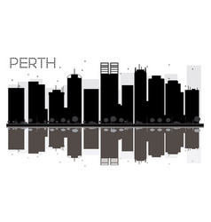 Perth city skyline black and white silhouette vector