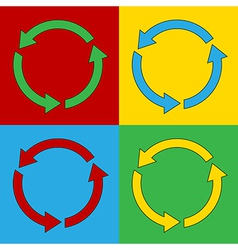 Pop art arrows circle icons vector
