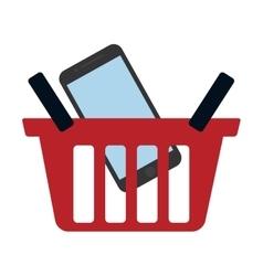 Red basket buy online smartphone commerce vector