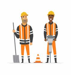 Road construction workers - cartoon people vector
