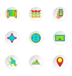 Search way icons set cartoon style vector image