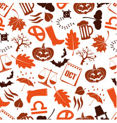 September month theme set of icons seamless vector