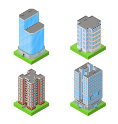 set of isometric block houses vector image vector image