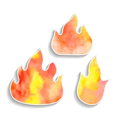 set of watercolor fire icons vector image