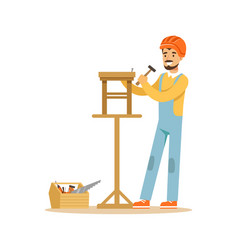 smiling carpenter building a wooden chair vector image