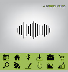 Sound waves icon black icon at gray vector