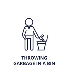 throwing garbage in a bin line icon outline sign vector image