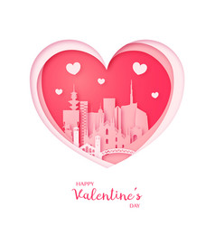 valentines card paper cut heart and milan vector image vector image
