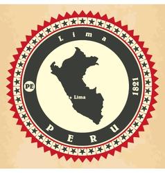 Vintage label-sticker cards of peru vector