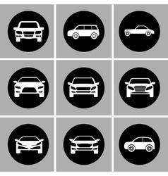 White cars set Transportation design vector image