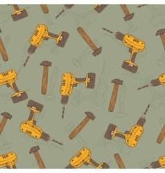 Seamless pattern with drills and hammers vector