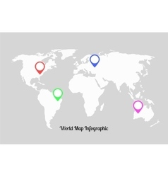 World map infographic with pointers vector