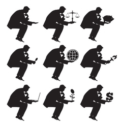 Businessman sitting thinking set of silhouettes vector