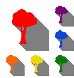 Tree sign  set of red orange yellow vector