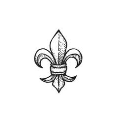 Engraving fleur de lis vector