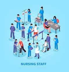 hospital nurses flowchart isometric poster vector image