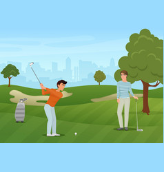 group golfers friends characters on green vector image