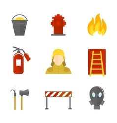 Firefighting icons flat vector