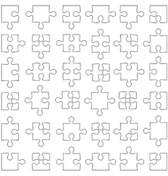 Set of white jigsaw puzzles vector