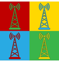 Pop art transmitter icons vector