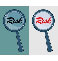 Magnifying glass with word risk on white vector