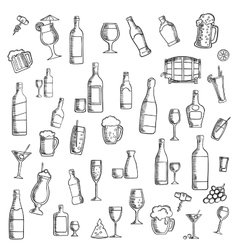 Cocktails and alcohol beverages with snacks icon vector