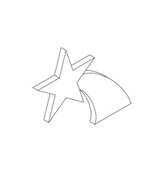 Falling star icon isometric 3d style vector